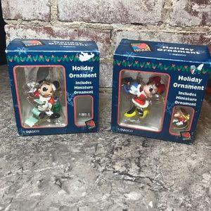 2 VTG Mickey Unlimited Ornaments Mickey & Minnie